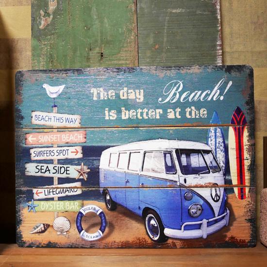 VWバス【ブルー】ワーゲン ヴィンテージサインボード ハワイアン インテリア 木製看板の画像