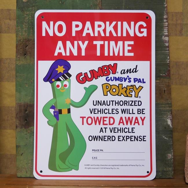 GUMBY NO PARKING プラスチック サインプレート ガンビー 駐車禁止 インテリアボード アメリカン雑貨の画像
