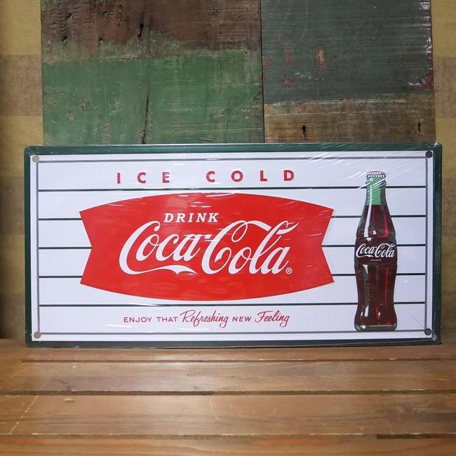 コカコーラ ティンサイン フィッシュテールサイン ブリキ看板 Coca-Cola アメリカン雑貨の画像