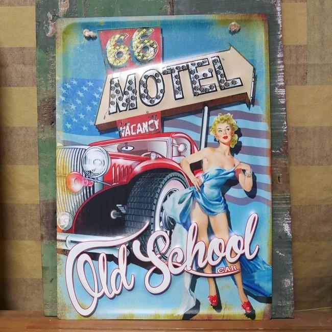 レトロデイズ アメリカン ティンサイン ピンナップガール MOTEL ブリキ看板 アメリカン雑貨の画像