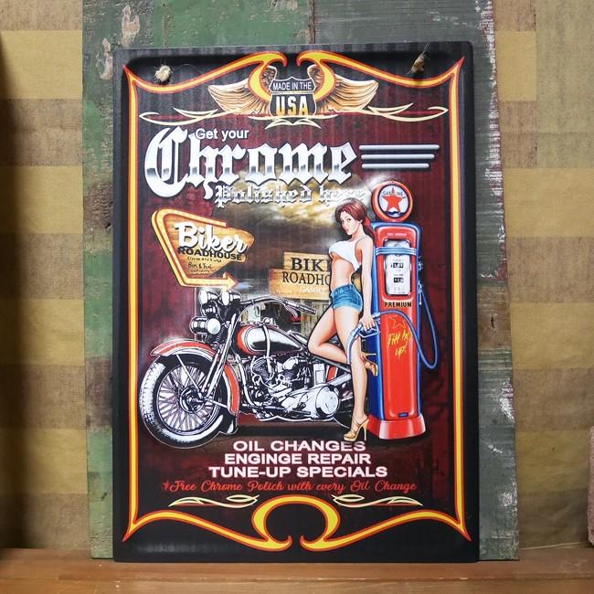レトロデイズ アメリカン ティンサイン ピンナップガール Chrome Polished ブリキ看板アメリカン雑貨の画像