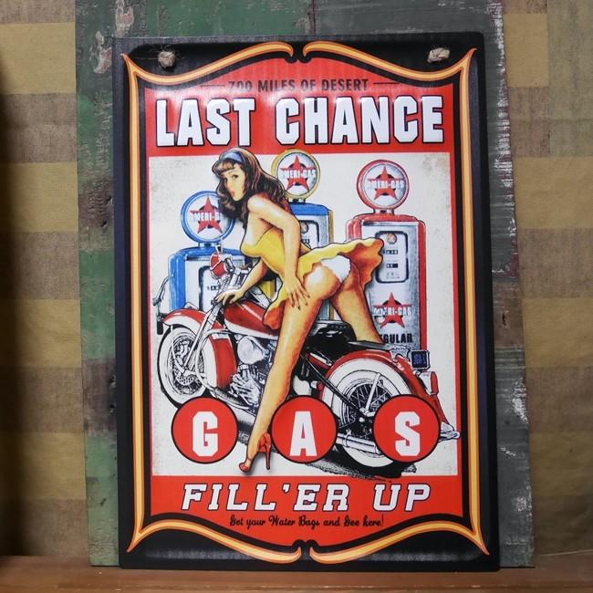 レトロデイズ アメリカン ティンサイン ピンナップガール  LAST CHANCE ブリキ看板アメリカン雑貨の画像