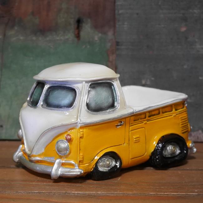 ピックアップトラック イエロー レジン 貯金箱 VWタイプバンク アメリカン雑貨の画像