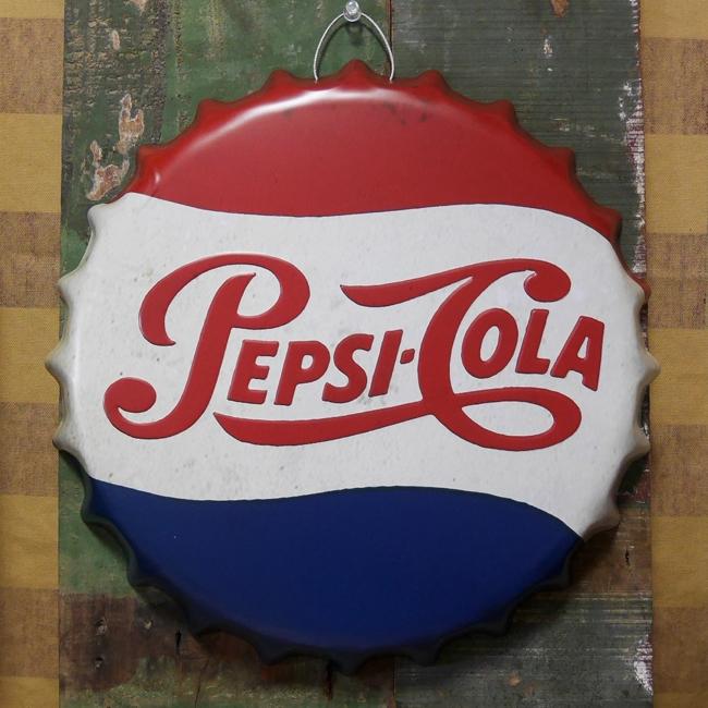 ペプシコーラ 王冠型 ブリキ看板 インテリア エンボスメタルサインプレート  アメリカン雑貨の画像