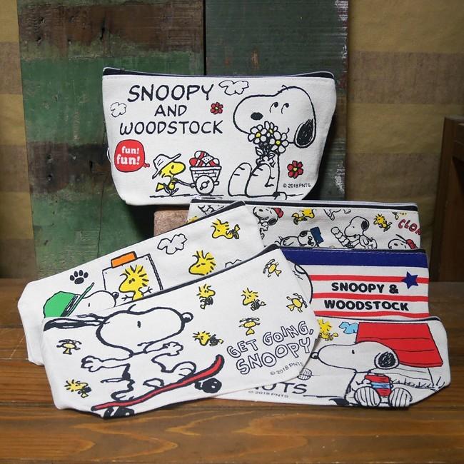 スヌーピー 帆布 スクエアポーチ PEANUTS 小物入れ 化粧ポーチ 筆記用具入れ アメリカン雑貨の画像