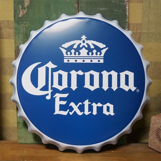コロナビール 王冠型 ブリキ看板 インテリア ボトルキャップサイン Corona Extra  Lサイズ アメリカン雑貨の画像