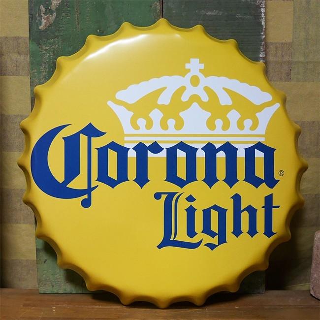 コロナビール 王冠型 ブリキ看板 インテリア ボトルキャップサイン Corona Light  Lサイズ アメリカン雑貨の画像