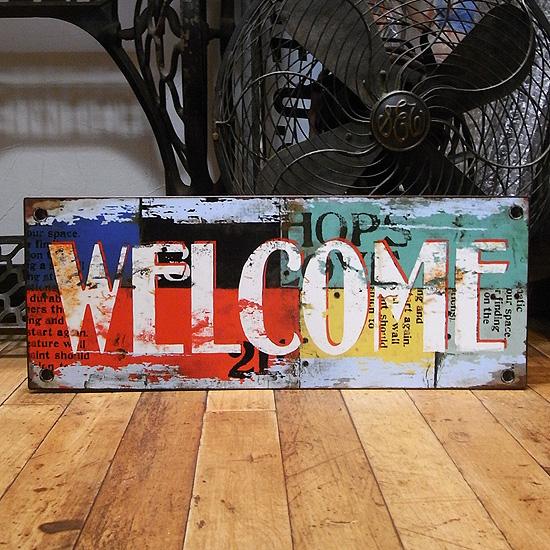 ウェルカムボード ブリキ看板 ナンバープレート スパイス ウエルカムサインの画像