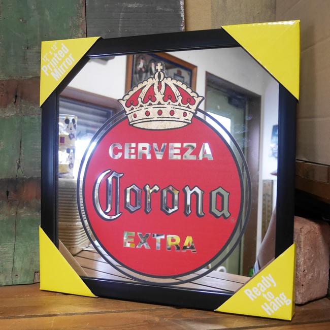 コロナ パブミラー インテリア ウォールミラー 鏡 CORONA VINTAGE EXTRA ガレージミラーアメリカン雑貨の画像