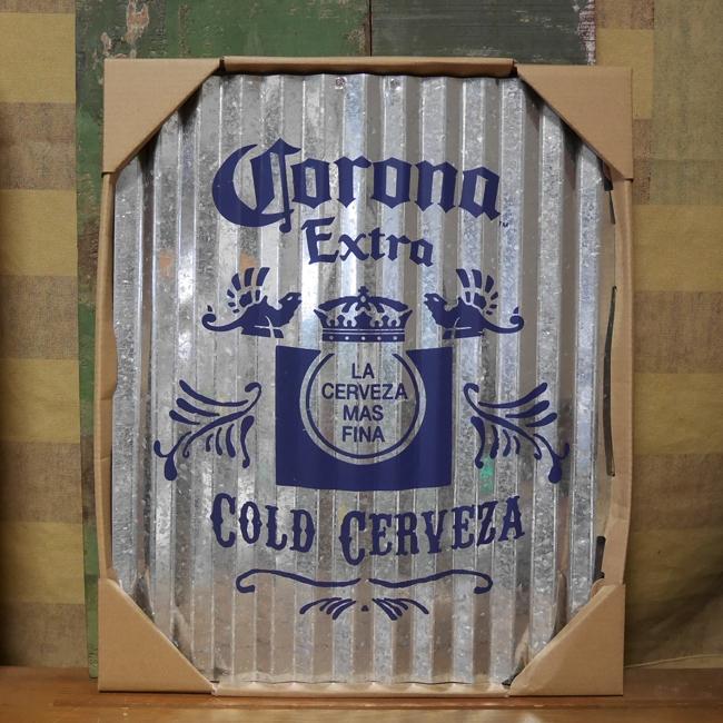 コロナビール コルゲート ティンサイン ブリキ看板 インテリア CORONA EXTRA アメリカン雑貨の画像