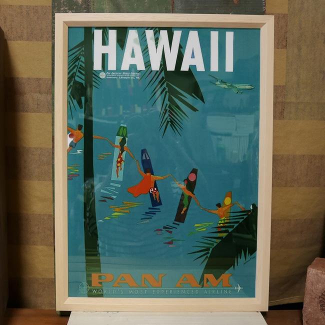 インテリアピクチャー A3ポスター パンナムポスター  ハワイアン フレームセット インテリア額の画像