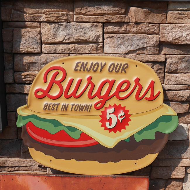 特大フードサイン ハンバーガー エンボスブリキ看板 ティンサイン アメリカン雑貨の画像