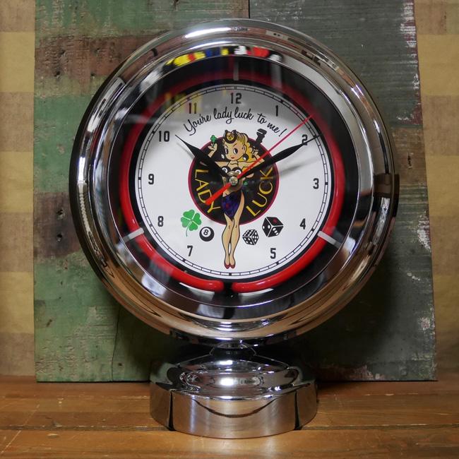 LADY LUCK ガスランプ ネオンクロック 置時計 レディラック GASLAMP NEON CLOCK アメリカン雑貨画像
