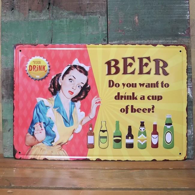 アンティーク メタルプレート CUP OF BEER  ビア ティン ブリキ看板の画像