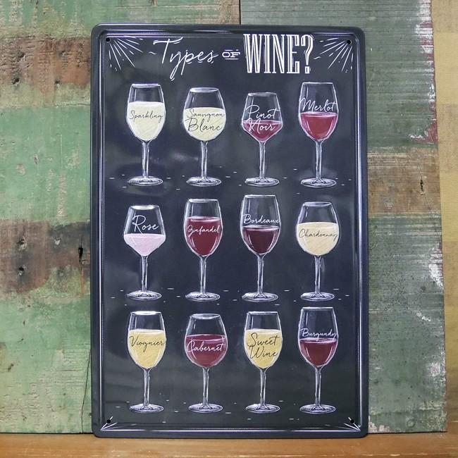 ワインティン看板 パブバー TYPE OF WINE ティンプレートインテリア ブリキ看板の画像