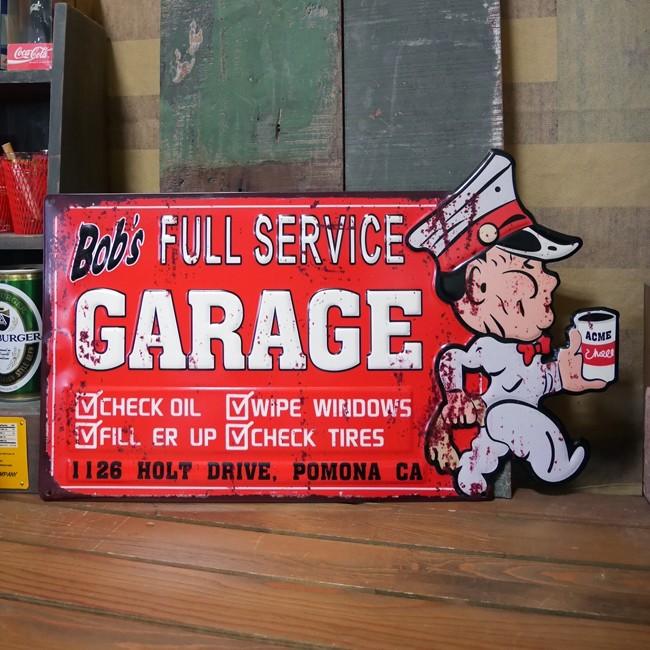 アンティークエンボスプレート ダイカット ブリキ看板 BOB'S GARAGE アメリカン雑貨の画像