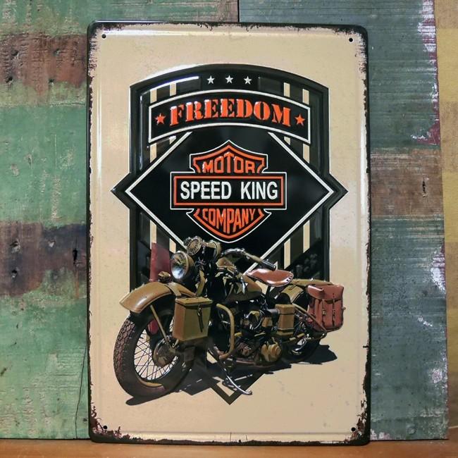 メタルプレート オートバイ SPEED KING ブリキ看板 A4  アメリカン雑貨の画像