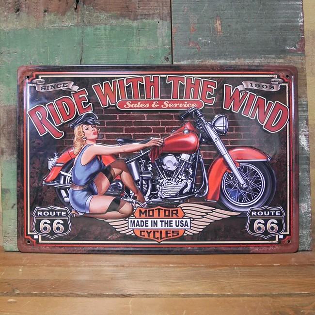 ブリキ看板【RIDE WITH THE WIND 】A4サイズ エンボスティンプレート アメリカン雑貨の画像