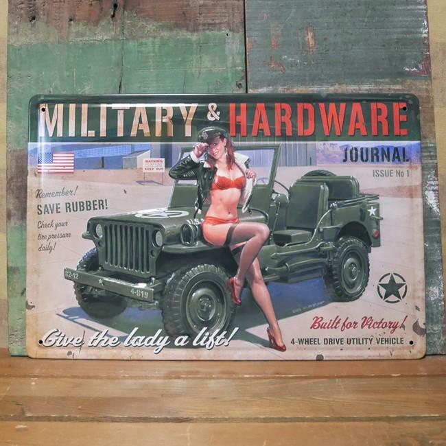 ブリキ看板【ミリタリーガール 】A4サイズ エンボスティンプレート アメリカン雑貨の画像