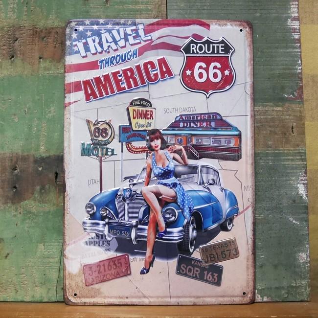 ブリキ看板【TRAVEL AMERICA 】ルート66 A4サイズ エンボスティンプレート アメリカン雑貨の画像