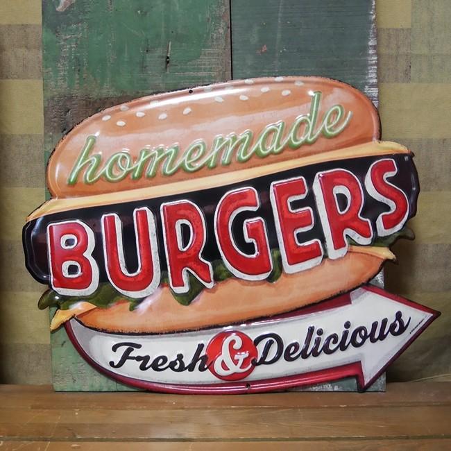 アンティークエンボスプレート ダイカット ハンバーガー  ブリキ看板 アメリカンインテリアの画像