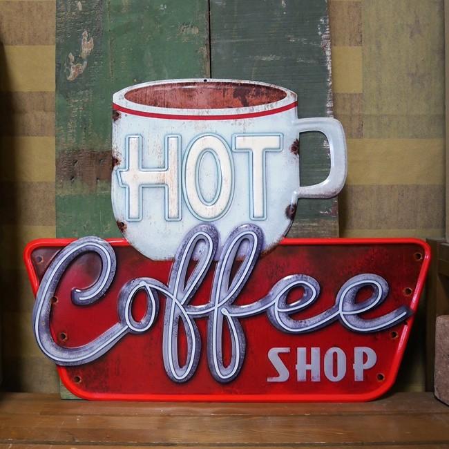 アンティークエンボスプレート ダイカット コーヒーSHOP ブリキ看板 アメリカンインテリアの画像