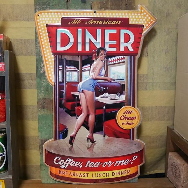 アンティークエンボスプレート ダイカット  DINER ME ブリキ看板 アメリカン雑貨の画像