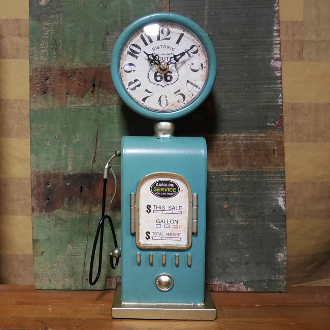 ガスポンプ テーブルクロック ルート66 置時計 BLUE ROUTE66 アメリカン雑貨画像