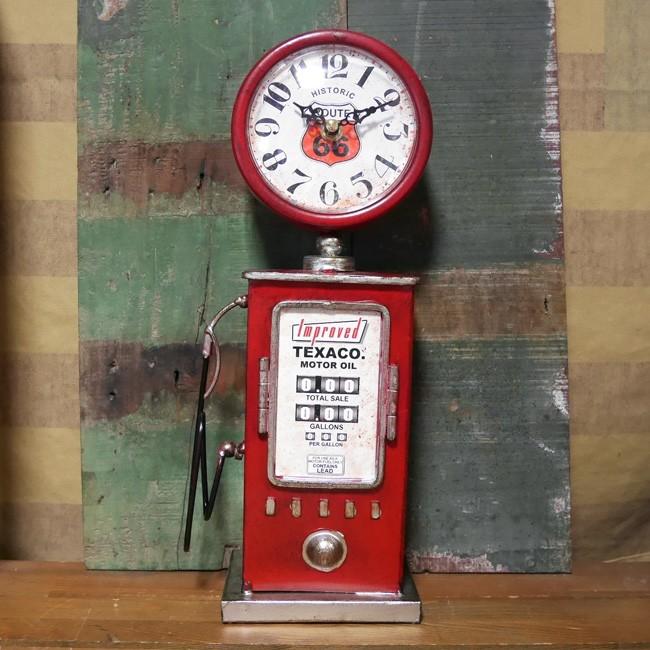 ガスポンプ テーブルクロック ルート66 置時計 RED ROUTE66 アメリカン雑貨画像