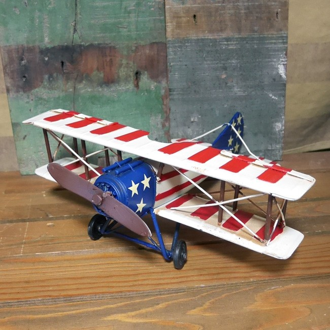 ヴィンテージ プレーン US インテリア 飛行機 ブリキのおもちゃの画像