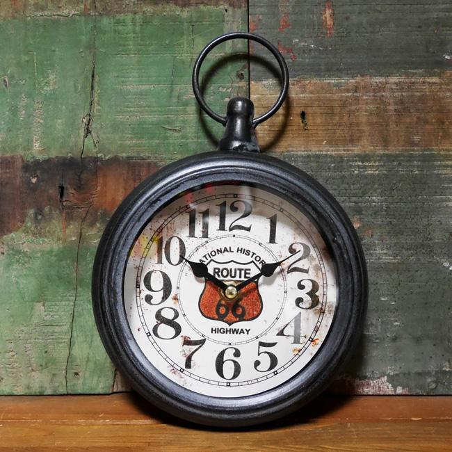 アンティーク ラウンドクロック ルート66 掛け時計 ROUTE66 アメリカン雑貨の画像