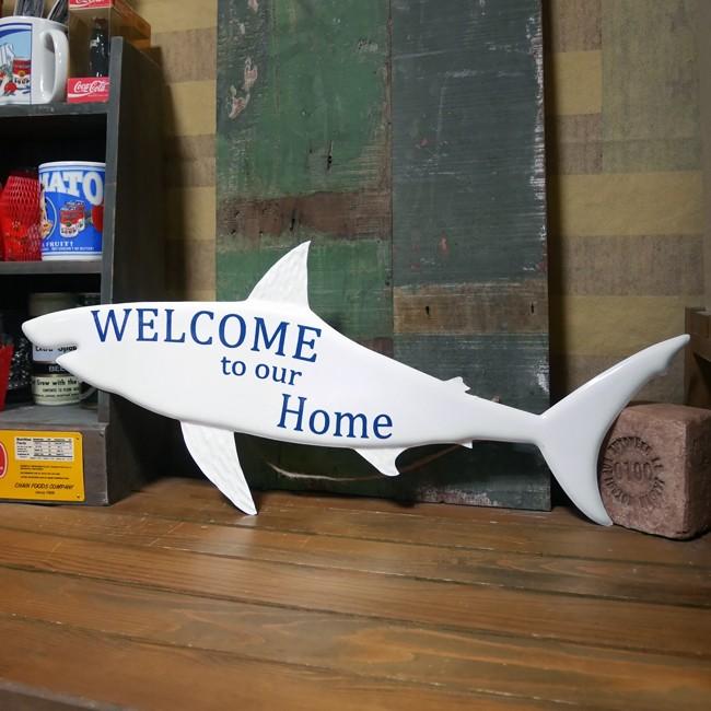 ウエルカムプレート シャーク サメ ブリキ看板 インテリア アメリカン雑貨の画像