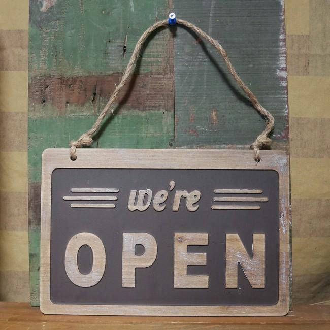 OPEN & CLOSED ウッデンサインボード オープン クローズ アメリカン クラシック 木製看板 の画像