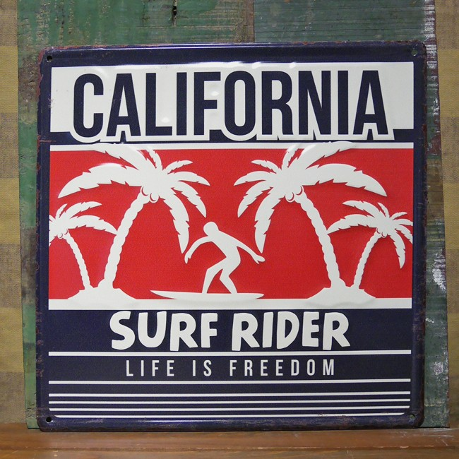 アンティークエンボスプレート ダイカットブリキ看板 カリフォルニア ハワイアン アメリカンインテリアの画像
