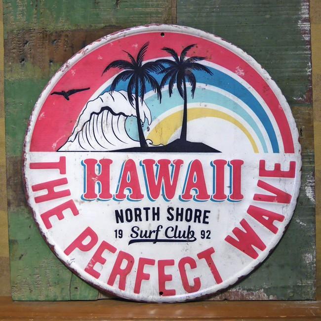 アンティークエンボスプレート ブリキ看板 サーファー ハワイアン アメリカンインテリア アメリカン雑貨の画像
