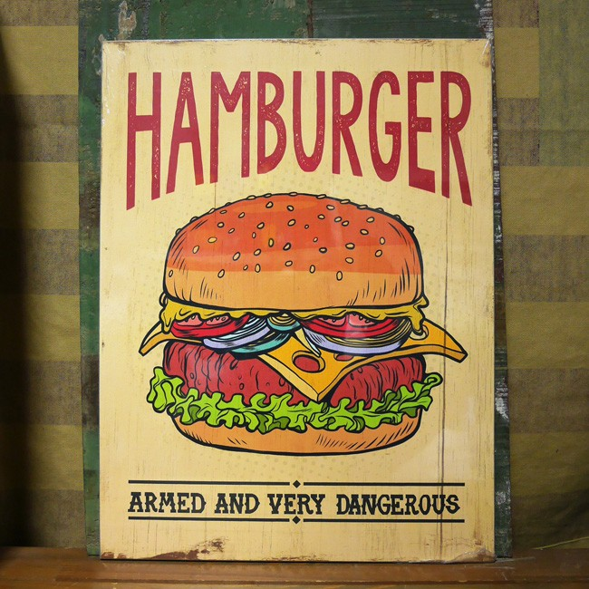 木製看板 ハンバーガー ウッドボード レクト ダイナー アメリカン雑貨の画像