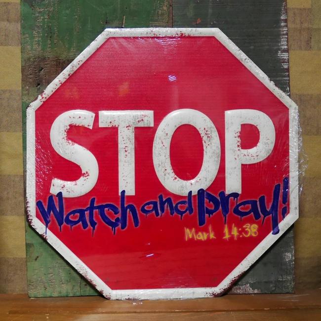 ストップ トラフィックサイン看板 ガレージインテリア ブリキ看板 STOP アメリカン雑貨の画像