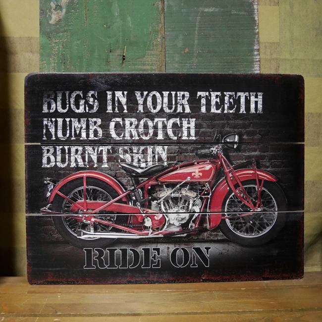 木製看板 ライドオン ウッドボード オートバイ サインボード アメリカン雑貨の画像