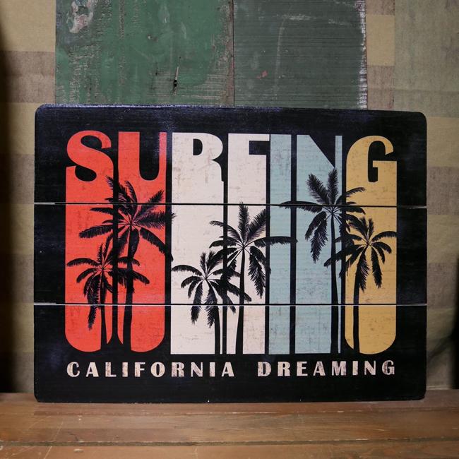 木製看板 ハワイアン ウッドボード カリフォルニアドリーミング ボード アメリカン雑貨画像