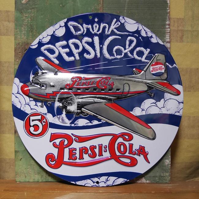 ペプシコーラ エンボス看板 ティンサイン  PEPSI アメリカン雑貨の画像