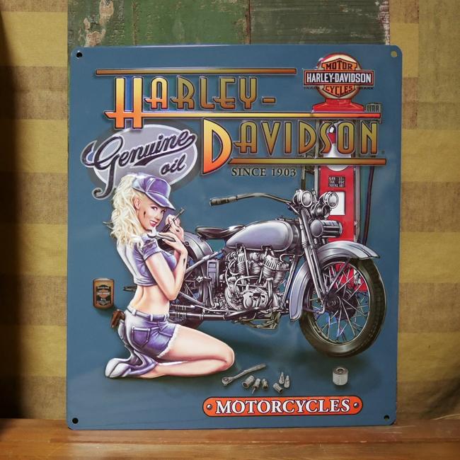 ハーレーダビッドソン HARLEY-DAVIDSON ピンナップガールエンボスティンサイン  アメリカン雑貨画像