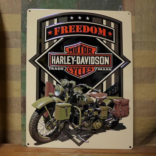 ハーレーダビッドソン HARLEY-DAVIDSON アーミー ARMYエンボスティンサイン  アメリカン雑貨の画像