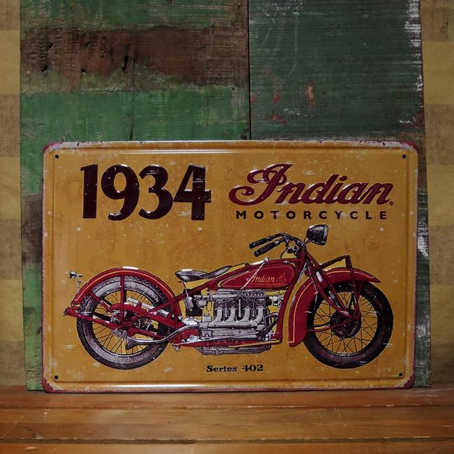 インデアンバイク ブリキ看板 ティンサイン ガレージインテリア アメリカン雑貨の画像