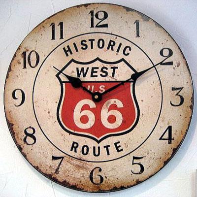 ルート66木製ウォールロック ルート66掛け時計 アメリカン雑貨の画像