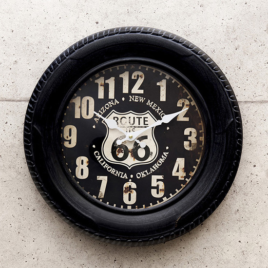 ルート66アメリカンクロック  タイヤ掛け時計 アメリカン雑貨の画像