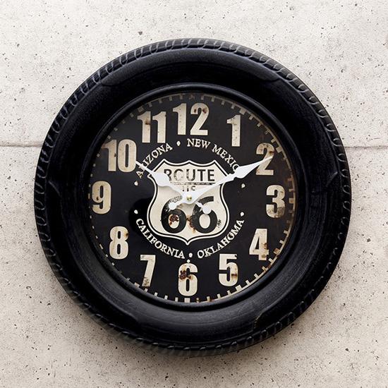 ルート66アメリカンクロック  タイヤ掛け時計 アメリカン雑貨画像