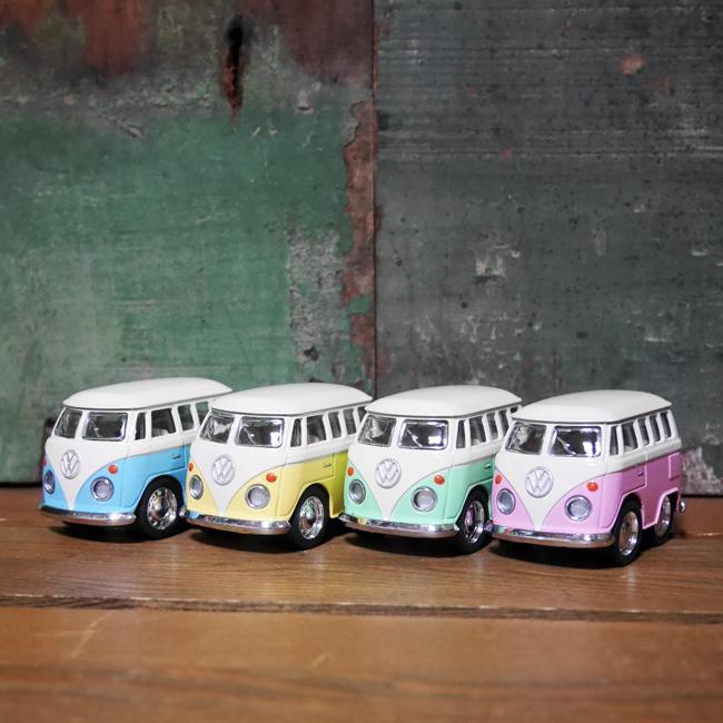 フォルクスワーゲンバス4Pセット【パステル】 ミニVWバス プルバックミニカー アメリカン雑貨の画像