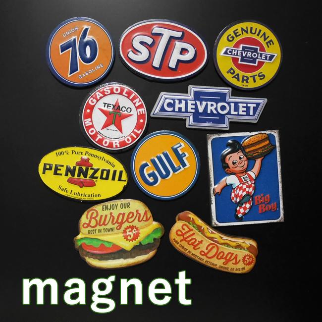 アメリカンマグネット ミニブリキ看板 モーター系 バーガー ホットドッグ  アメリカン雑貨の画像