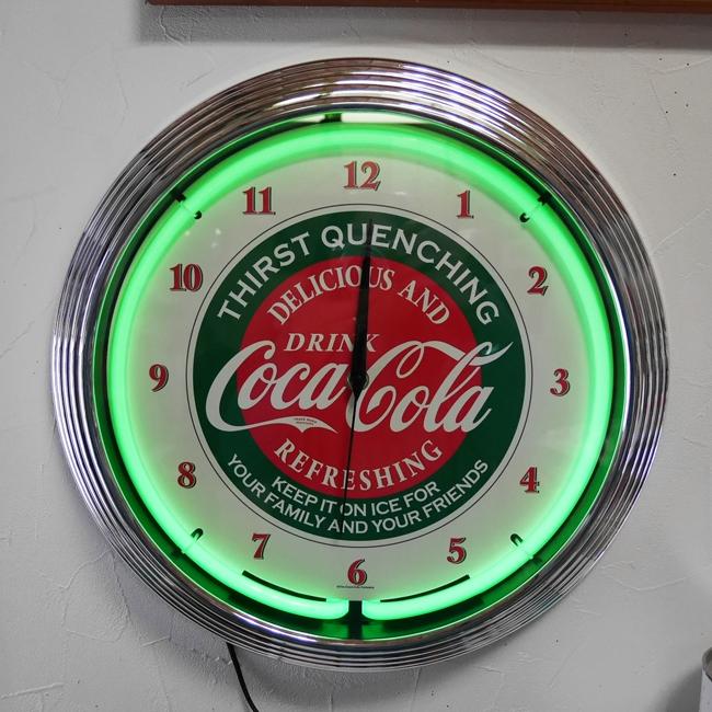 コカコーラ ネオンクロック インテリア ダイナー 掛け時計 アメリカン雑貨画像