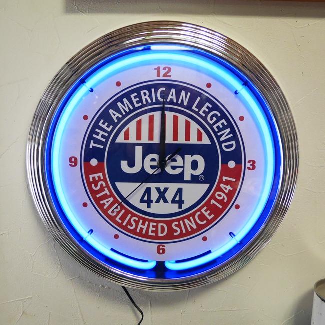 JEEP ネオンクロック ジープ ガレージインテリア 掛け時計 アメリカン雑貨の画像